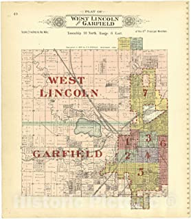 Historic 1903 Map - Plat Book of Lancaster County, Nebraska - Plat of West Lincoln and Garfield 38in x 44in