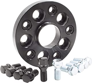 Wheel Accessories Parts 1 Bolt-on Spacer Kit 5x130 to 5x130 Bolt Pattern 71.50 Hub Bore Fit Vehicle with M14x1.5 Thread. Complete Kit with Lug Bolts (Sold as Each) (20mm Thick, Black Lug Bolts)
