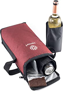 XSmart Slim Cooler Bag With Two Multifunction Velcro Ice Liquid Bags Bottle Coolers For Backpacks And Golf Bags Long Lasting Cold Beer and Wine Insulated and Waterproof, Soft and Foldable (Red)