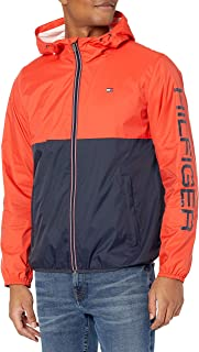 Tommy Hilfiger Men's Lightweight Active Water Resistant Hooded Rain Jacket
