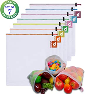 JSXD Reusable Mesh Produce Bags,Set of 7 Washable Premium See Through Mesh Bags,Superior Stitched Strength with Colorful Drawstring and Tare Weight Tags for Shopping,Fruit,Veggies,and Toys