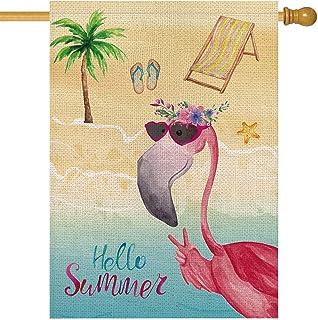 Details about  /Toland Flamingo Tutu 28 x 40 Beautiful Tropical Pink Bird Feather House Flag