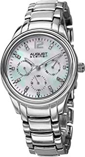 August Steiner Women's Dress Watch - Mother of Pearl Dial with Crystal Hour Markers and Day of Week, Date, and 24 Hour Sub...