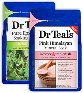 Dr Teal's Epsom Salt Bath Combo Pack (6 lbs Total), Relax & Relief with Eucalyptus & Spearmint, and Restore & Replenish wi...