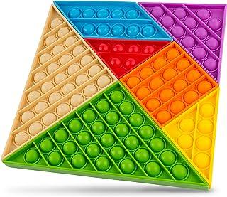 Push pop Sensory Popping Fidget Bubble Toy Pop Push It Pack 7 Piece Educational Colorful Brain Training Tangram Puzzle Bui...