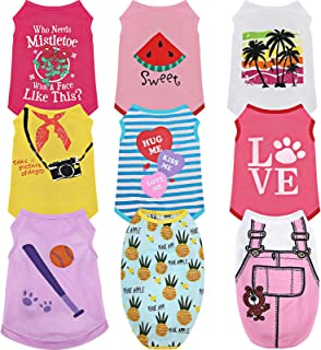 9 Pieces Printed Puppy Shirt Set Striped Dog Clothes Cotton Soft Breathable Pet T-Shirt Colorful Summer Sweatshirt Pullove...