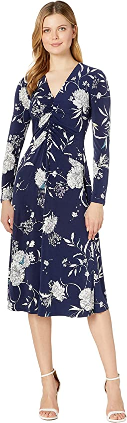Water Color Peony Printed Ruched Jersey Fit-and-Flare