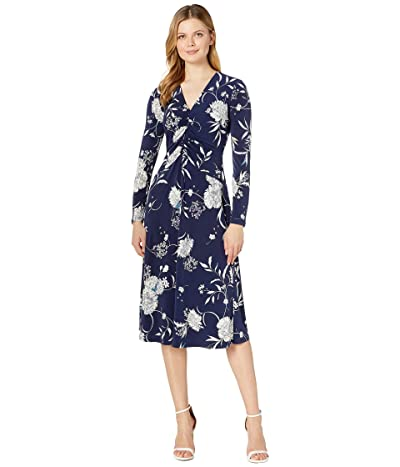 Maggy London Water Color Peony Printed Ruched Jersey Fit-and-Flare (Navy/Teal) Women