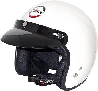 Core Vintage Open Face Helmet (White, Medium)