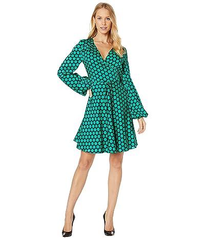 Milly Siena Wrap Dress (Black/Green) Women