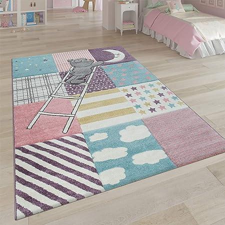 Tappeto per la cameretta dei Bambini con Grazioso Motivo Patchwork 3D con Orso, Luna, Stella, Scala in Rosa, Dimensione:120x170 cm