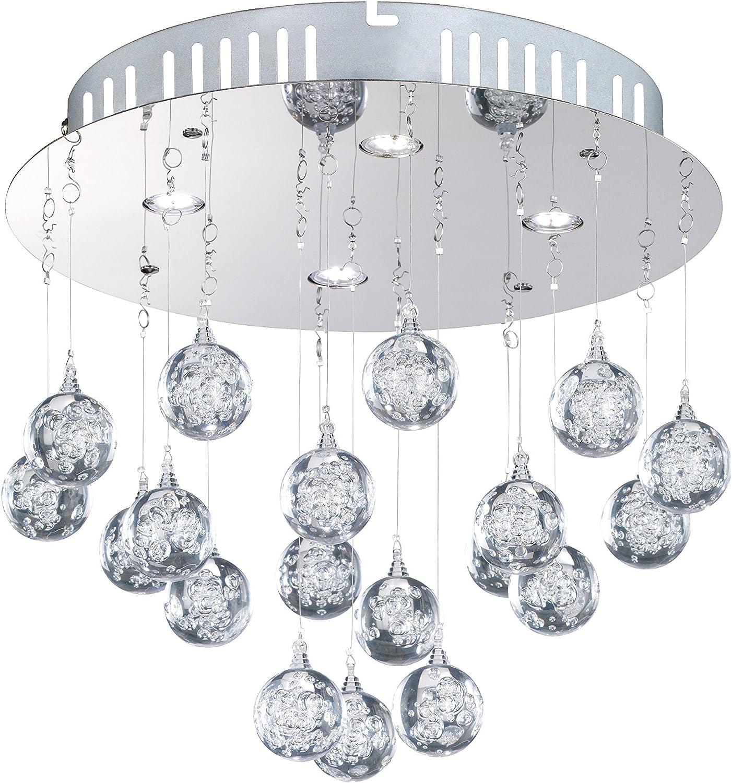 WOFI LED Glam Deckenleuchte, Metall, Acryl, chrom