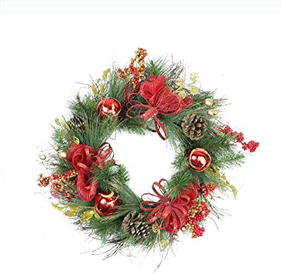 """Northlight Ornament and Berry Gold Glittered Artificial Christmas Wreath-Unlit, 26"""", Red"""