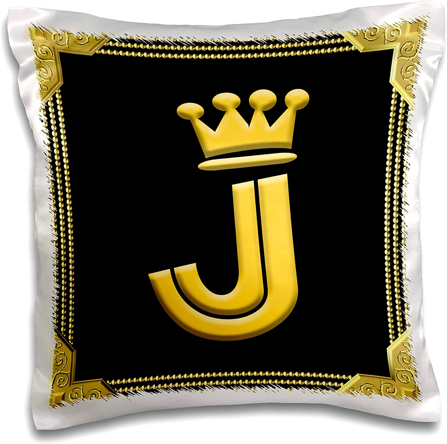 3drose Alexis Design Monogram King Queen King Queen Crown Rich Frame Yellow On Black Dazzling Letter J 16x16 Inch Pillow Case Pc 325326 1 Kitchen Dining