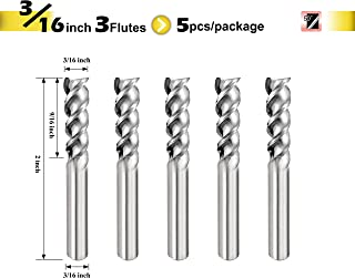 SPEED TIGER IAUE Carbide Square End Mill for Aluminum Applications - High Feed U-Type Design - for Roughing and Finishing - 3 Flute - IAUE3/16