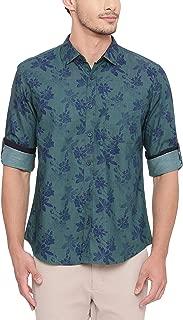 BASICS Slim Fit Antique Green Printed Shirt
