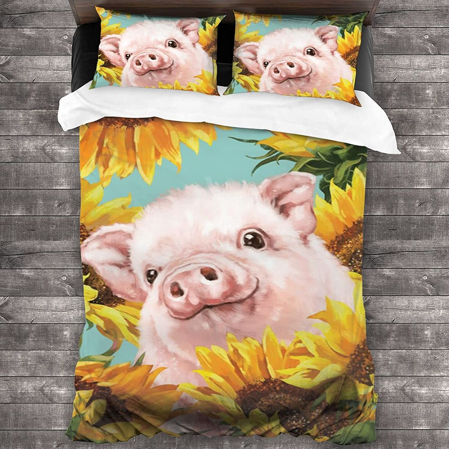 Popular Baby Pig with Sunflower Bedding Cover 3-Piece Manufacturer direct delivery Rapid rise Lovely Set