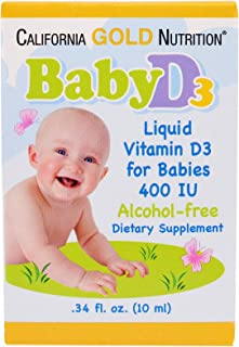 California Gold Nutrition, Baby Vitamin D3 Drops, 400 IU. 34 fl oz (10 ml), Alcohol-Free, Gluten-Free, Soy-Free, CGN