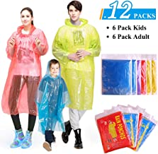 GINMIC Ponchos Family Pack – Rain Ponchos for Kids and Adults, Assorted Colors,..