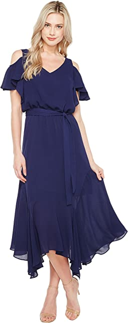 Cold-Shoulder Blouson Dress