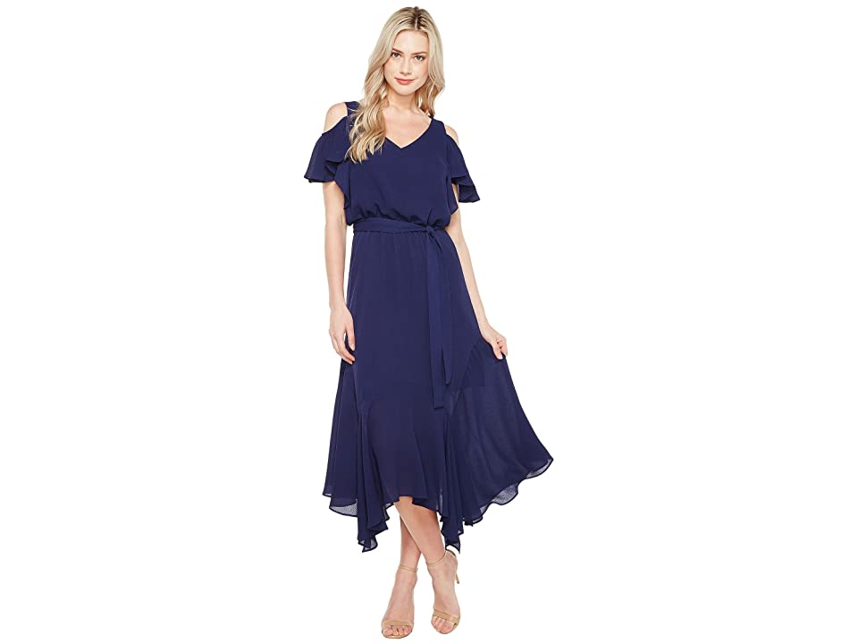 Maggy London Cold-Shoulder Blouson Dress (Dark Navy) Women