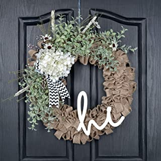 QUNWREATH Handmade 18 inch Hydrangea Wreath,Green Leaf,Hello Letter,Gifts Package,Free Hooks,Front Door Rustic Wreath,Farmhouse Wreath,Grapevine Wreath,Light up Wreath,Everyday Wreath,QUNW80
