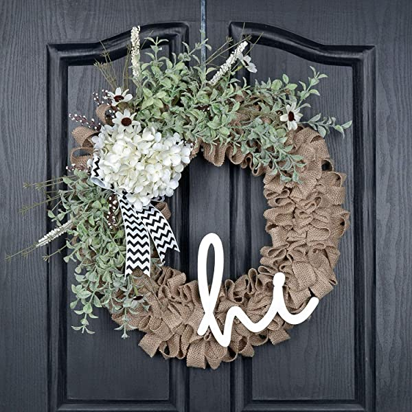 QUNWREATH Handmade 18 Inch Hydrangea Wreath Green Eucalyptus Leaf Hello Letter Fall Wreath Wreath For Front Door Rustic Wreath Farmhouse Wreath Grapevine Wreath Light Up Wreath Everyday Wreath QUNW80
