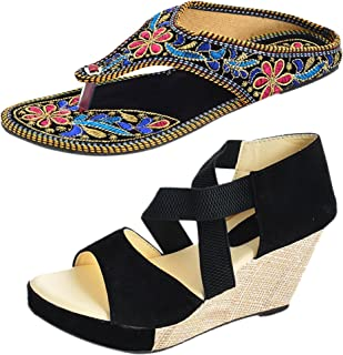 Thari Choice Women's Synthetic Wedges with Rajasthani Chappal