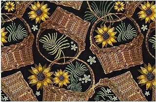 HUTEC Sunflowers Wicker Basket Doormat Indoor Outdoor Front Door Carpet Bathroom Entrance Mat Floor Mat Anti-Slip PVC Silk...