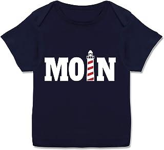 Shirtracer Sprüche Baby - Moin mit Leuchtturm - weiß - Kurzarm Baby-Shirt für Jungen und Mädchen