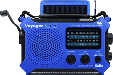 Kaito Voyager KA500 Solar,Wind Up,Dynamo Cranking,NOAA Emergency Radio with AM/FM/Shortwave Band and Weather Alert,Color Blue