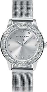 TREEWETO Women's Quartz Watch, Small Case Analog Quartz Stainless Steel Rose Gold/Silver Milanese Strap, Crystal Bezel Wrist Watches for Lady