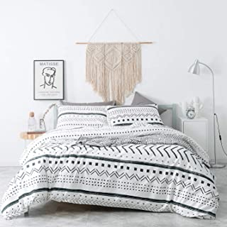 SUSYBAO 3 Pieces Duvet Cover Set 100% Natural Cotton White King Size Black Herringbone Geometric Pattern Bedding with Zipper Ties 1 Stripe Print Duvet Cover 2 Pillow Cases Luxury Quality Soft Durable
