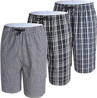 IDORIC Mens Pyjama Shorts 100% Cotton Plaid Lounge Shorts Pyjama Bottoms 2-3 Pack