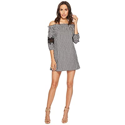ROMEO & JULIET COUTURE Gingham Off the Shoulder Lace Dress (Black/White) Women