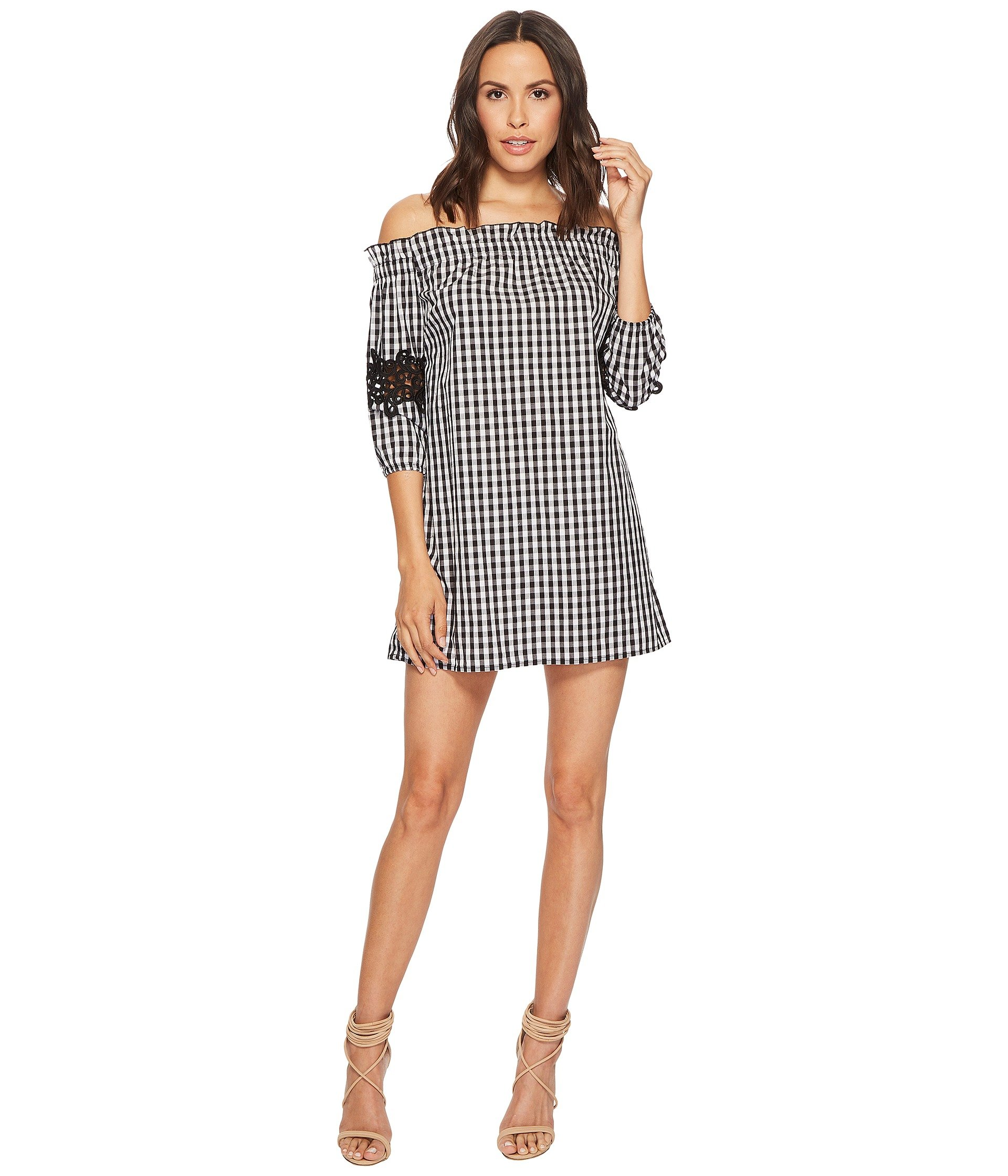 Romeo & Juliet Couture Gingham Off the Shoulder Lace Dress, BLACK/WHITE