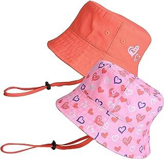 accsa Sombrero de Sol 2 Piezas Algodón Plegable Sombreros de Pescador Sombrero de Cubo Verano de Playa para Bebés Gorra co...