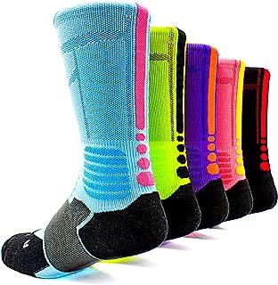 Basketball Socks 5 Pack Athletic Crew Sport for Boy Girl Men Women By JIYE