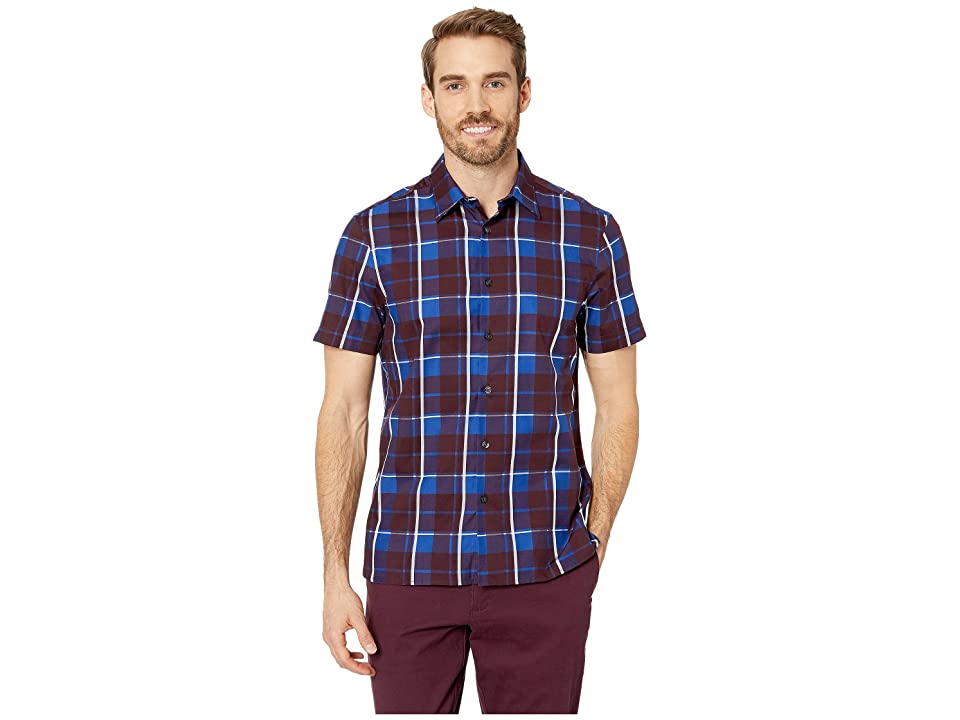 Perry Ellis Regular Fit Plaid Print Shirt (Regal Blue) Men