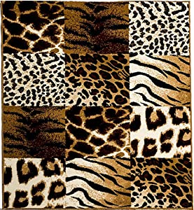 Aspetto Safari Animal Print out of Africa Tiger/Leopard Tappeto, Polipropilene, Marrone, 115 x 160 cm