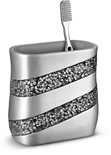 Dwellza Silver Mosaic Bathroom Toothbrush Holder (13cm x 7.6cm x 13cm ) - Family Brush Toothpaste Cup- Holds Multiple Stan...