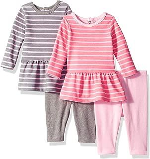 Hanes Girls' Ultimate Baby Flexy Set-2 Long Sleeve Dresses with 2 Leggings