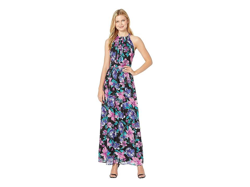 Nine West Printed HMC Pleated Bodice w/ Shirring at Waist Maxi Dress (Flamenco Multi) Women