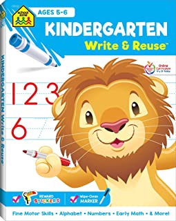 School Zone - Kindergarten Write & Reuse Workbook - Ages 5 to 6, Spiral Bound, Write-On Learning, Wipe Clean, Includes Dry Erase Marker, ABCs, Early Math, Counting Coins, Printing, Tracing, and More