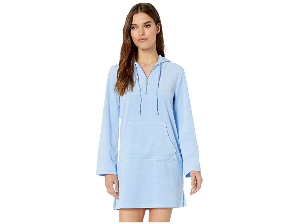 Juicy Couture Microterry Hooded Dress (Beach Blue) Women
