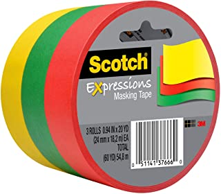 Scotch Expressions Masking Tape, 0.94 x 20 Yards, Red, Yellow, Green, 3-Rolls/Pack (3437-3PRM)