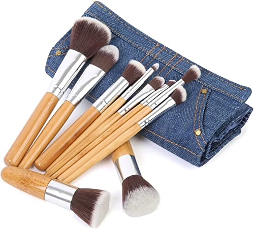 wholesale Ivaton Pro Signature Brush Set online - Includes 10 Pieces Handmade Natural/synthetic Bristle with Bamboo Wooden online sale Handle, Comes with a Travel Holder Jeans Pouch outlet sale