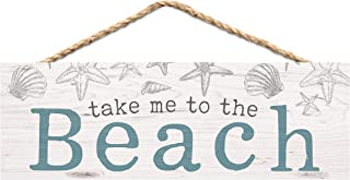 P. Graham Dunn Take Me to The Beach Nautical Blue 10 x 4 Pine Wood Hanging Décor String Sign