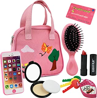 Click N' Play 8Piece Girls Pretend Play Purse, Including A Smartphone, Car Keys,..