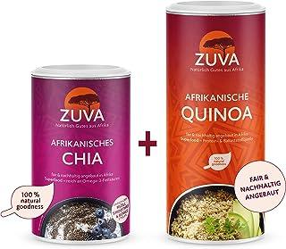 ZUVA Superfood-Paket: Weisse Quinoa  Schwarze Chiasamen, Hochwertig/Premium, das Superfood aus Afrika 400g  250g